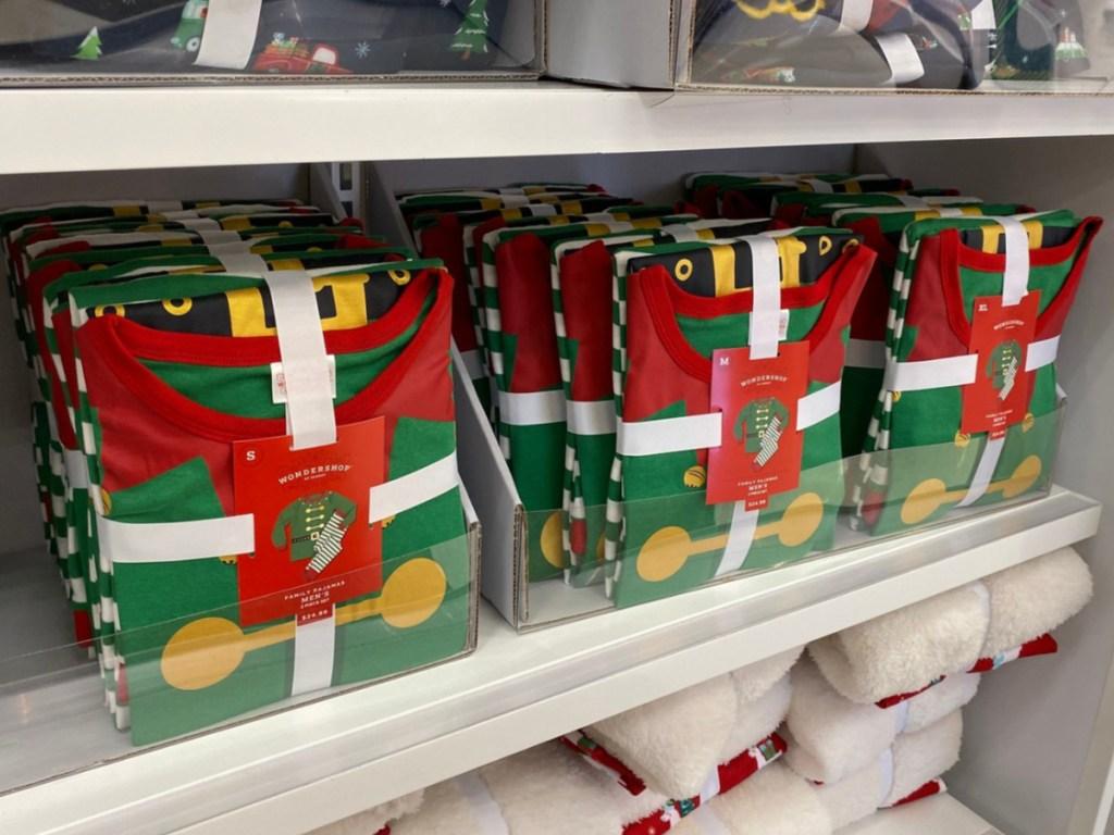 Target shelf of wondershop elf theme family matching pajamas
