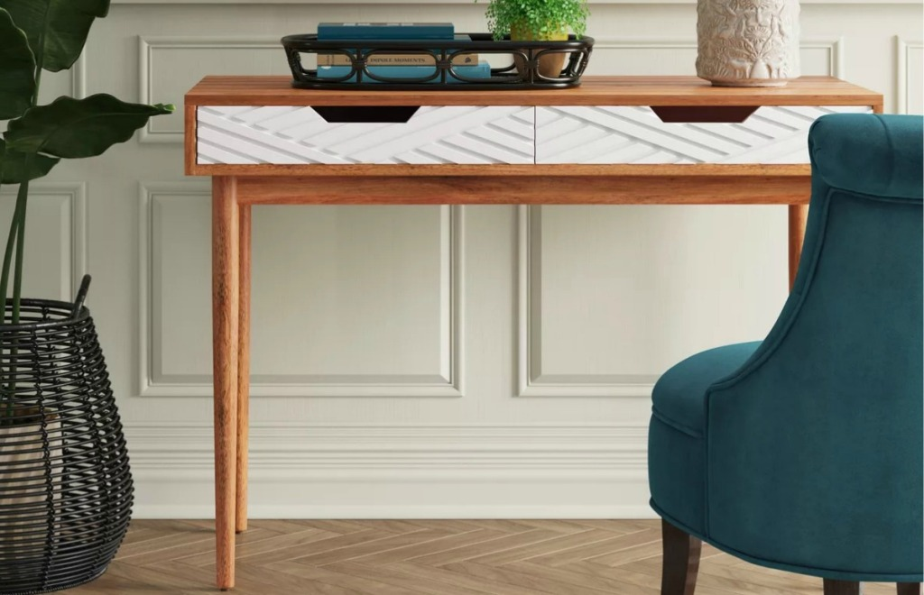 Wood and white writing desk from Target
