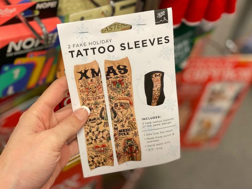Package of fake tattoo sleeves
