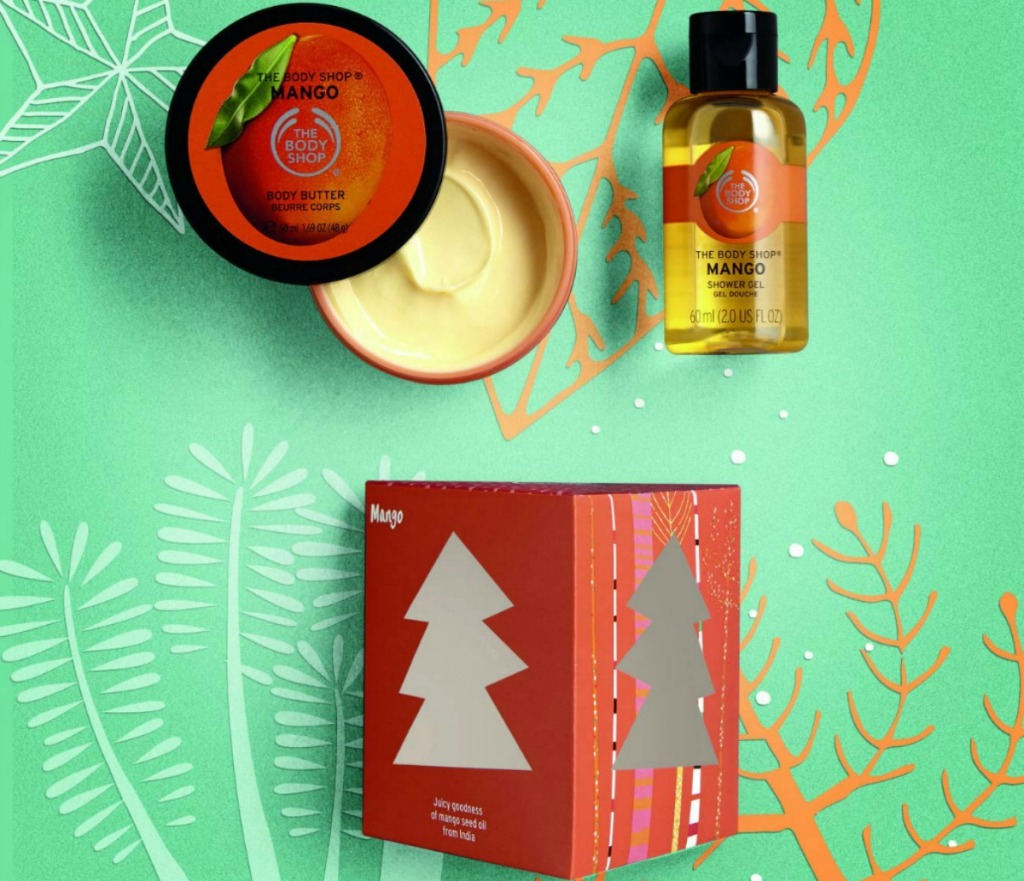 The Body Shop Mango Treats Cube Gift Set with mini shower gel and body butter