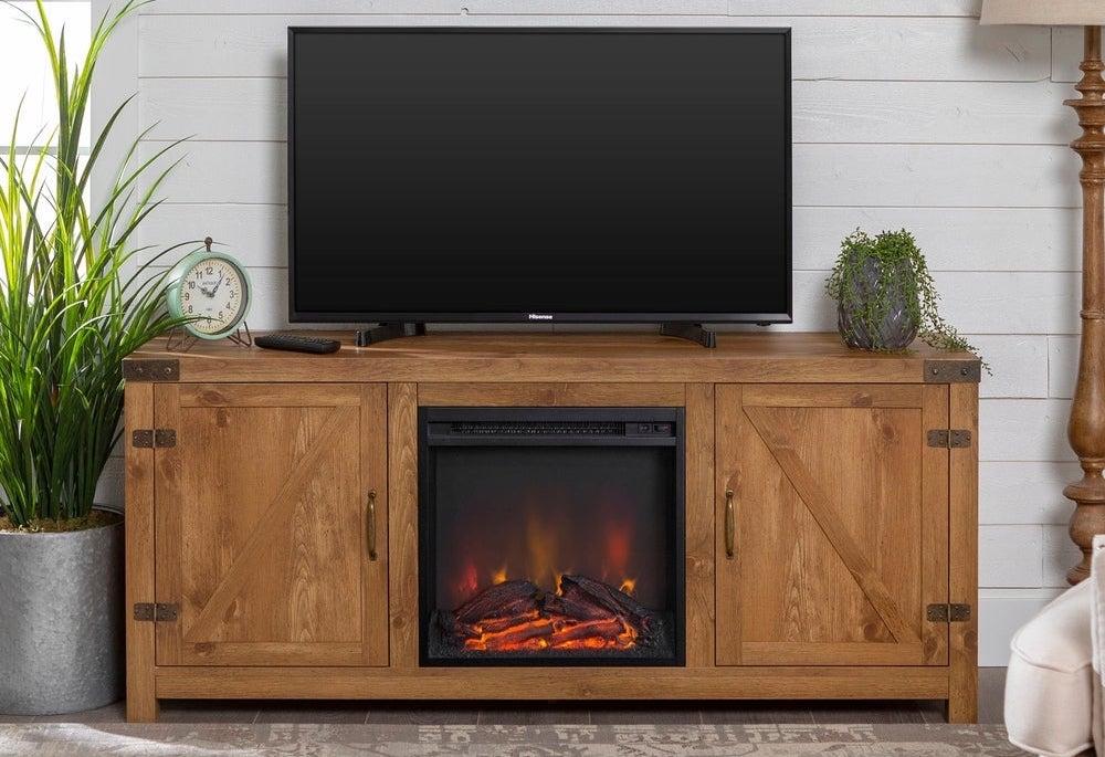 The Gray Barn Firebranch 58 Barn Door Fireplace TV Console