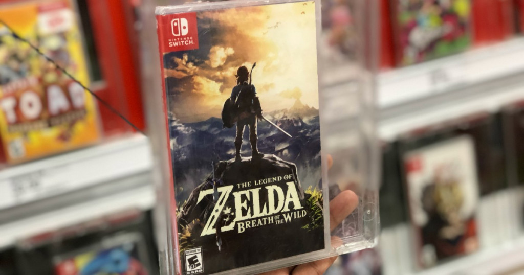 The Legend of Zelda video game on display in store in case