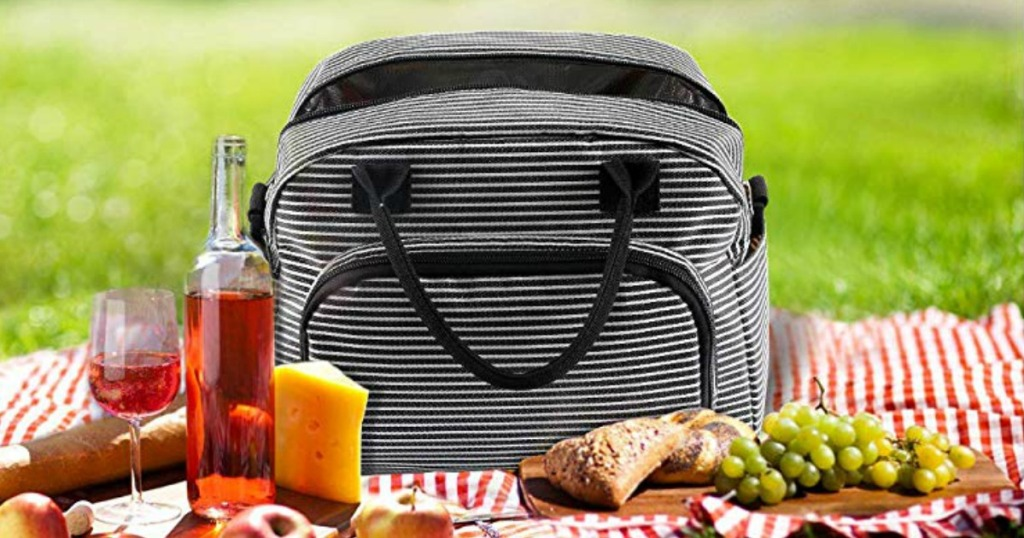 Thermal Lunch bag with black and white stripes and handles at picnic on blanket