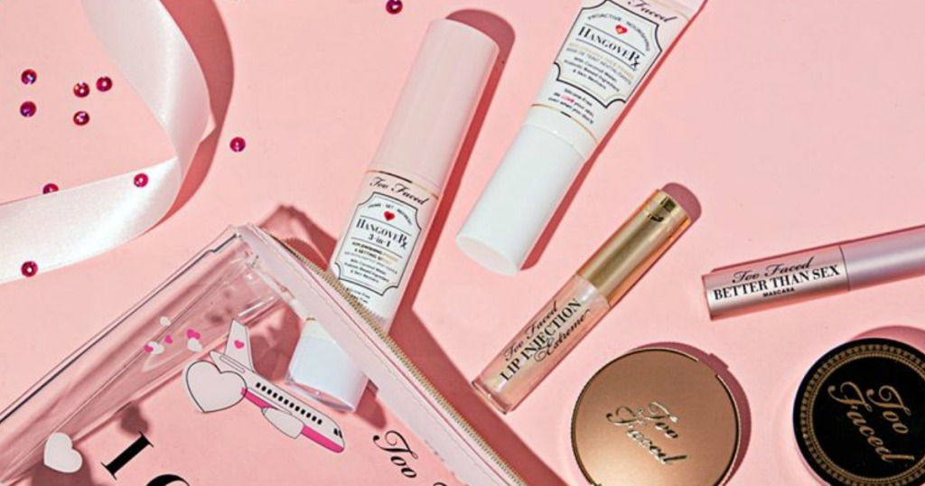Too faced Travel Size Items on pink backdrop