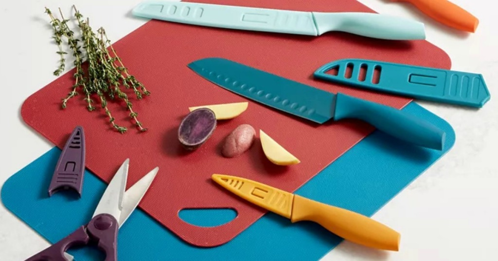 Colorful Knife set with cutting mats from Macy's