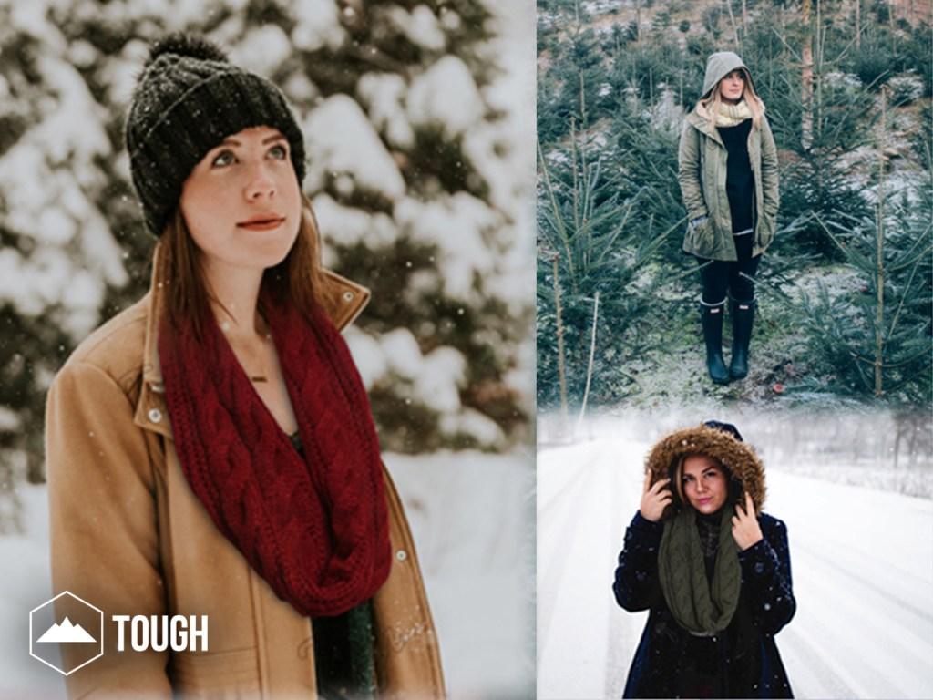 women wearing the Tough Headwear Scarf outside in snow