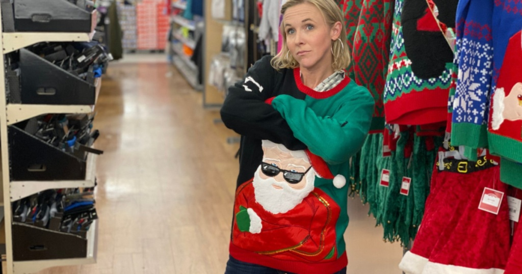 woman wearing ugly chirstmas sweater with arms crossed