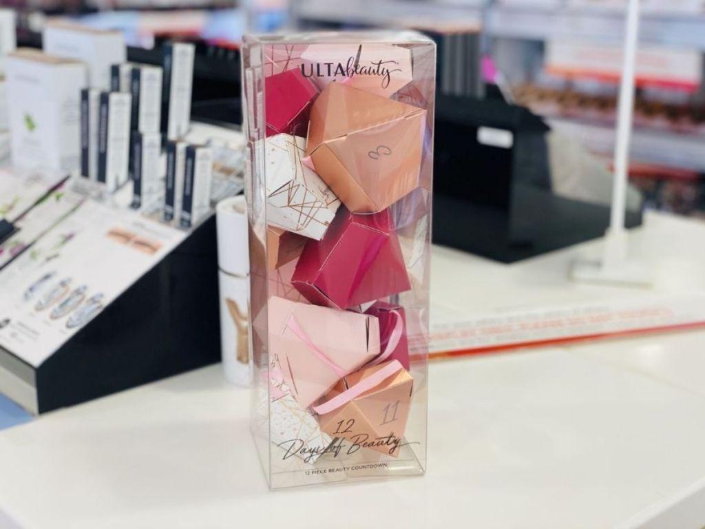 coloful pink garland ulta beauty advent calendar in clear tube