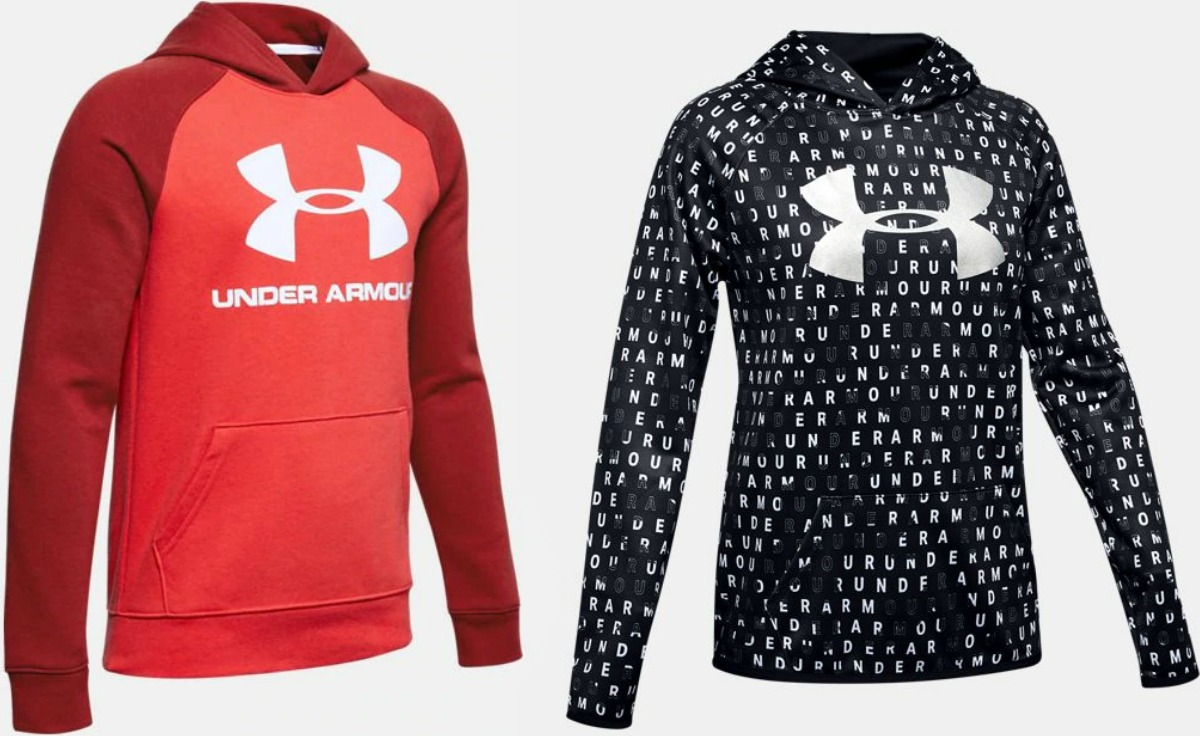 Boys and Girls Hoodies from Under Armour in black and red