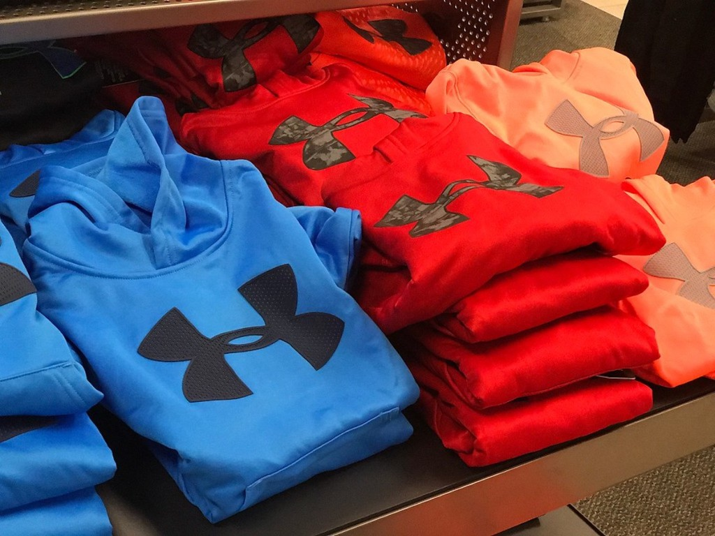 Under Armour Sweatshirts on a table