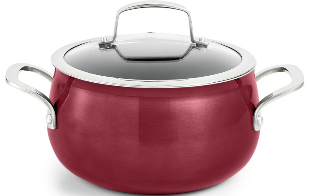 Soup Pot in burgundy color with coordinating lid