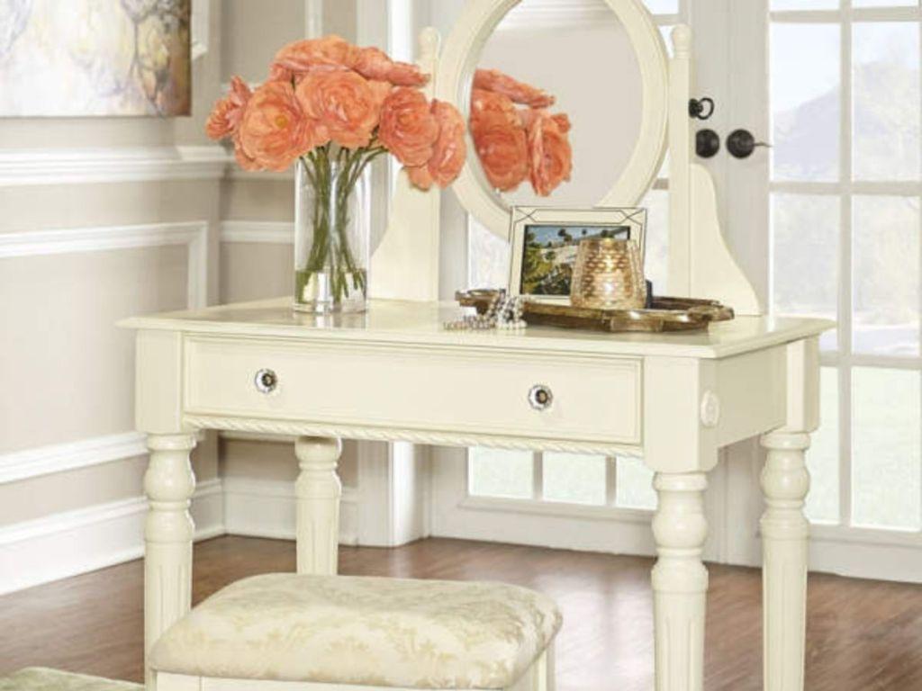 White Vanity Set with Matching Stool