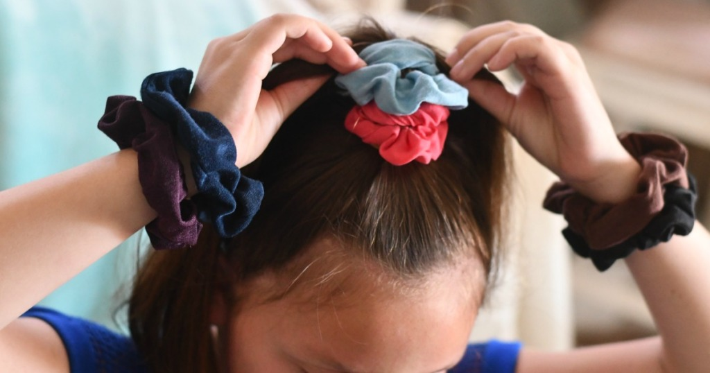 Girl wearing Velvet Scrunchies
