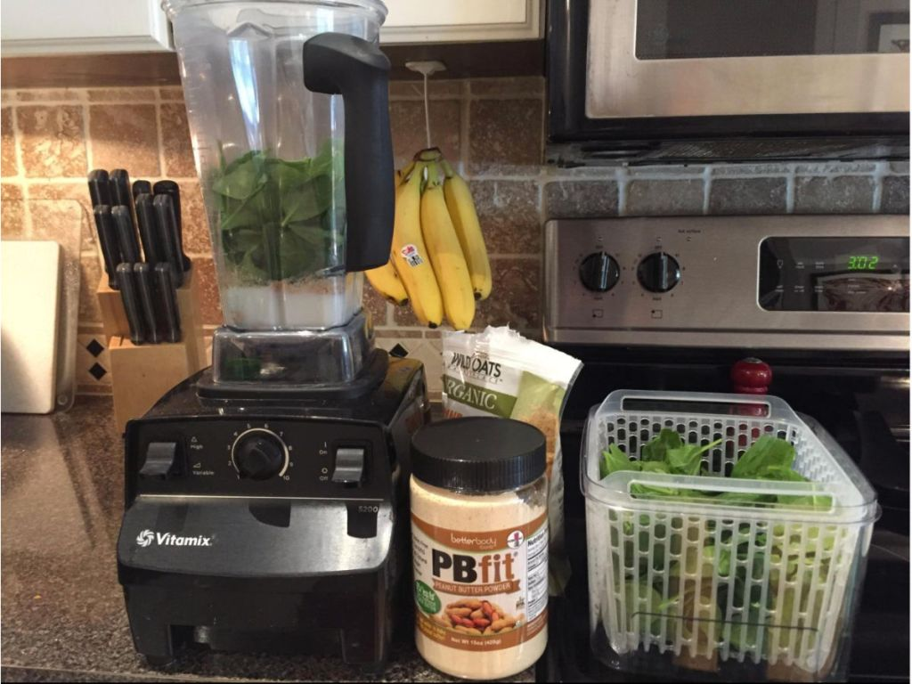 Vitamix 5200 Professional Grade Blender w/ 64 oz Container in kitchen with pbfit, bananas, spinach