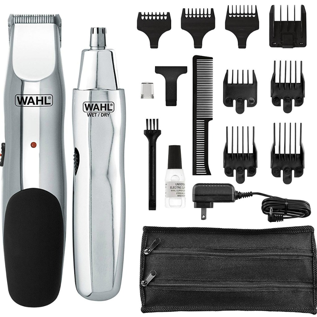 Hair trimmer and nose trimmer with accessories and attachments