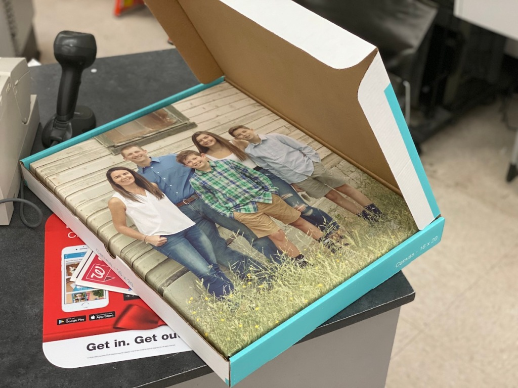 Walgreens Photo Canvas in box inside store