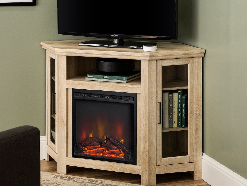 Walker Edison Corner Fireplace with TV on top