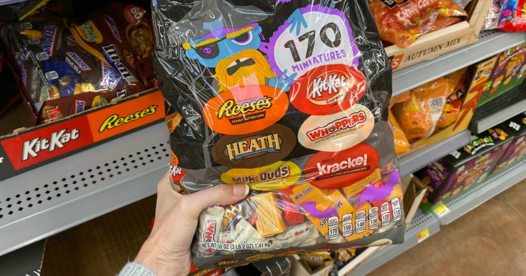 Walmart Halloween Clearance Candy in bag in hand