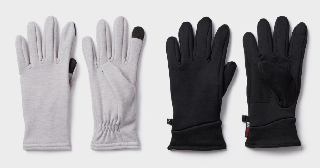 two pairs of winter gloves