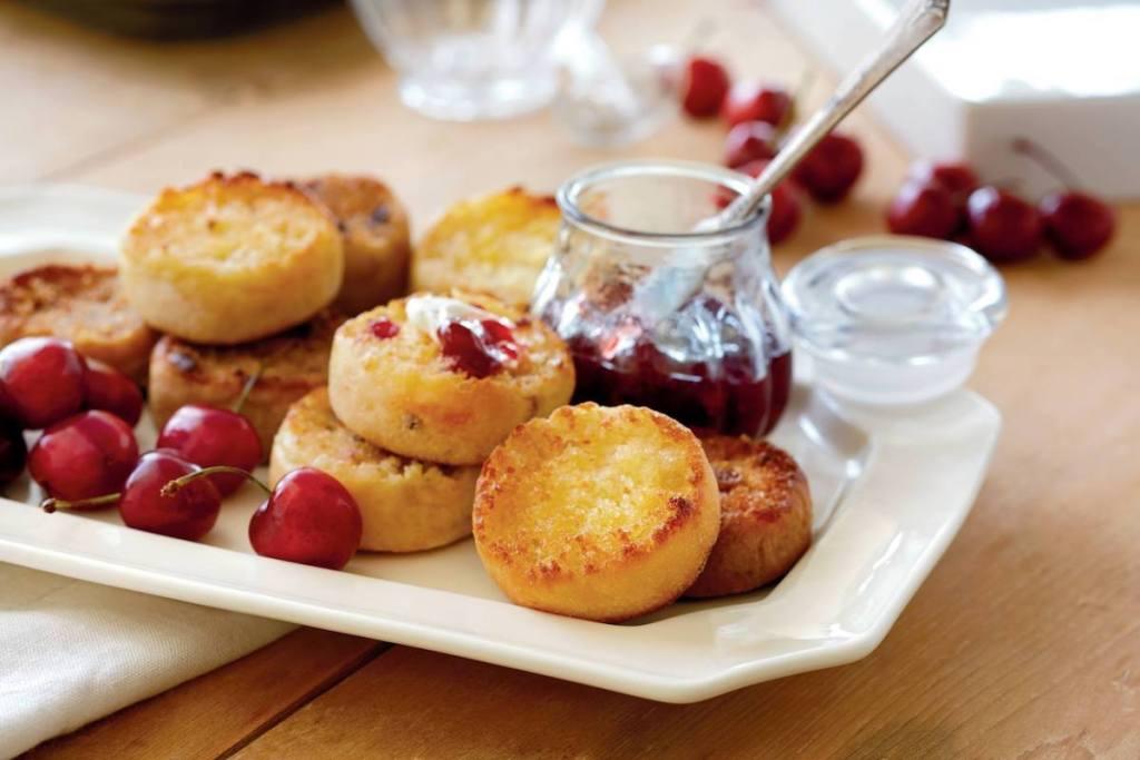 Wolfermans English Muffins next to jam and cherries