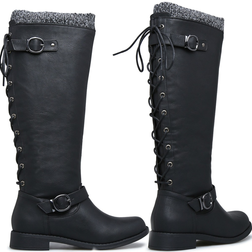 Women's Black Boots at two angles