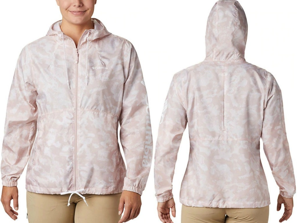 Women's Pink printed wind breaker jacket - front and back view