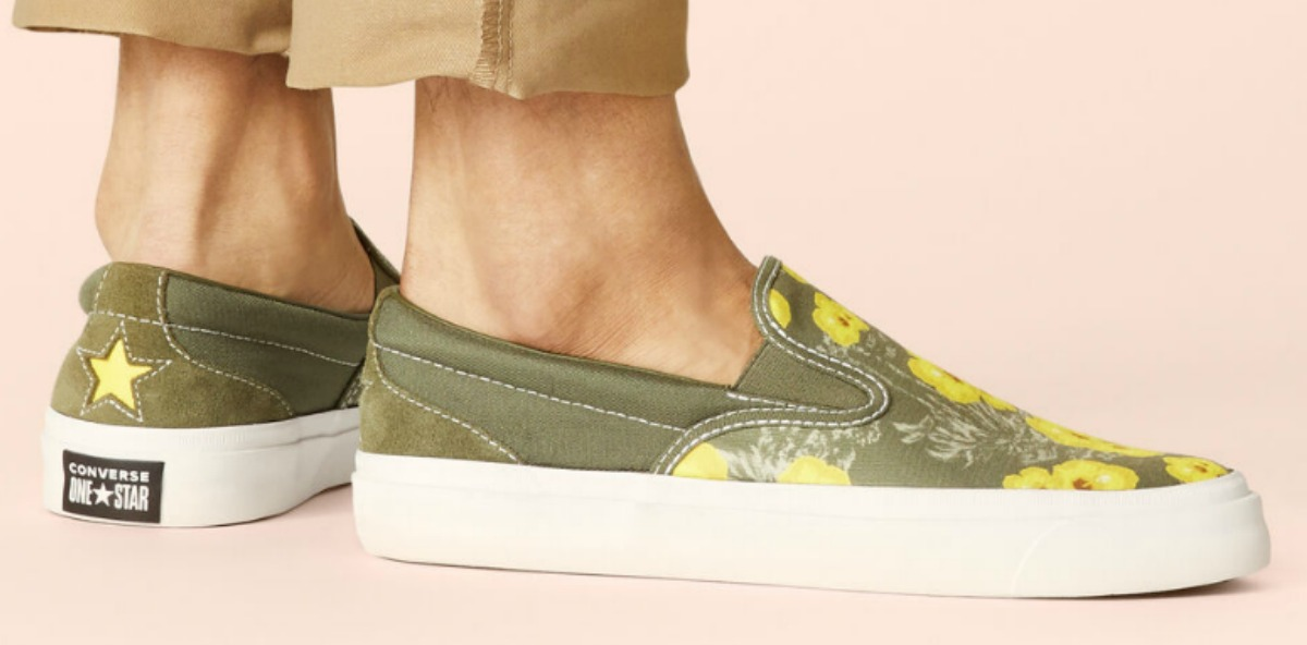 Women's Converse slip-on floral shoes in green