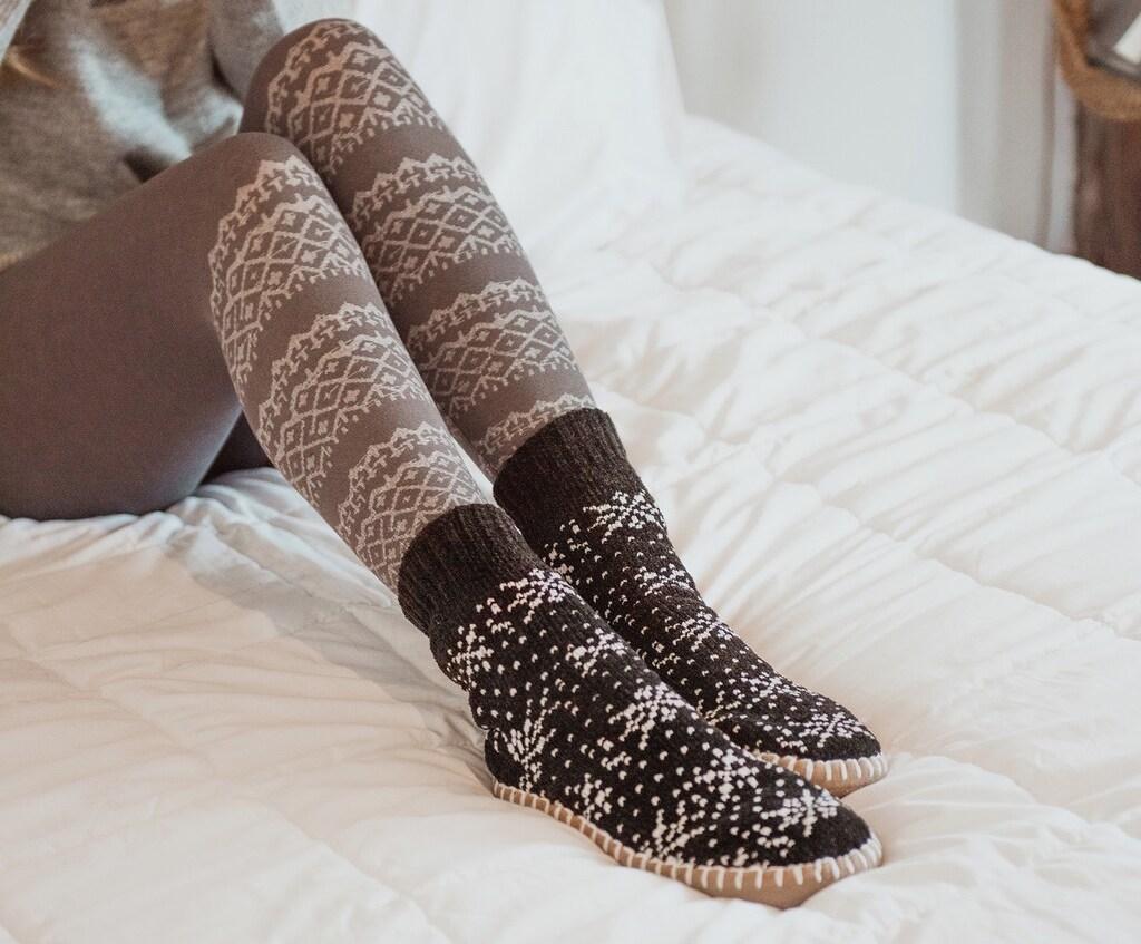woman wearing MUK LUKS Chenille Short Slipper Socks