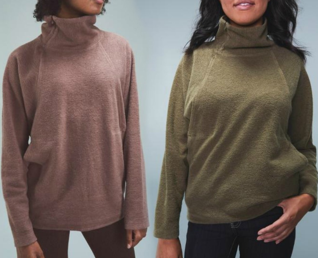Women wearing two colors of pullovers