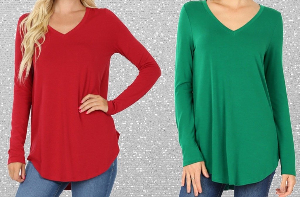 Women's V-neck tees in two colors - red & green
