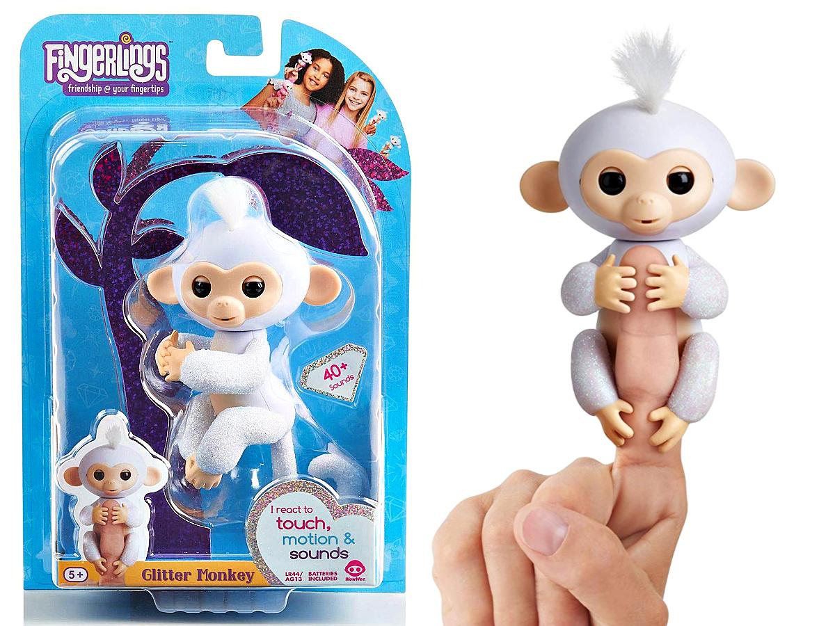 white glitter fingerlings monkey