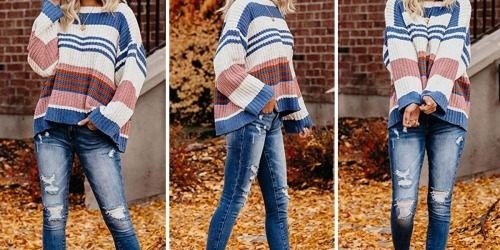 This Striped Oversized Knit Sweater on Amazon is the Perfect Fall Wardrobe Addition
