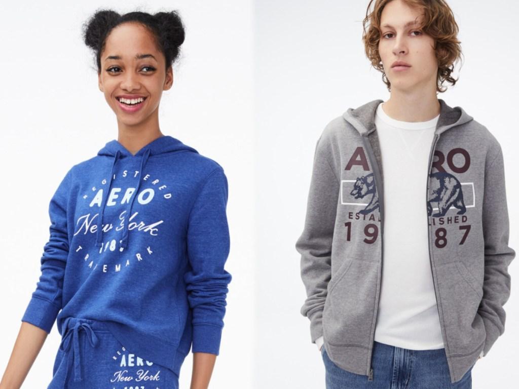 girl and guy modeling aero hoodies