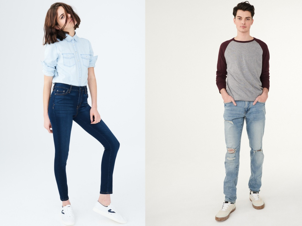 woman and man modeling aero jeans