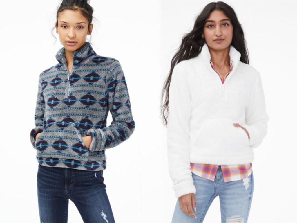 women modeling sherpa jackets