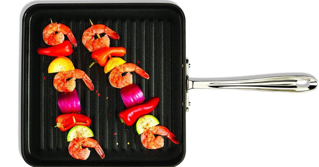 grill with shrim and veggie skewers