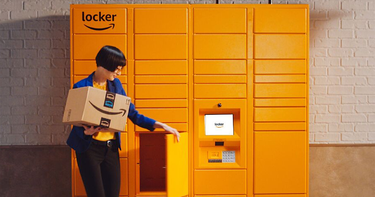 woman getting package from Amazon Locker