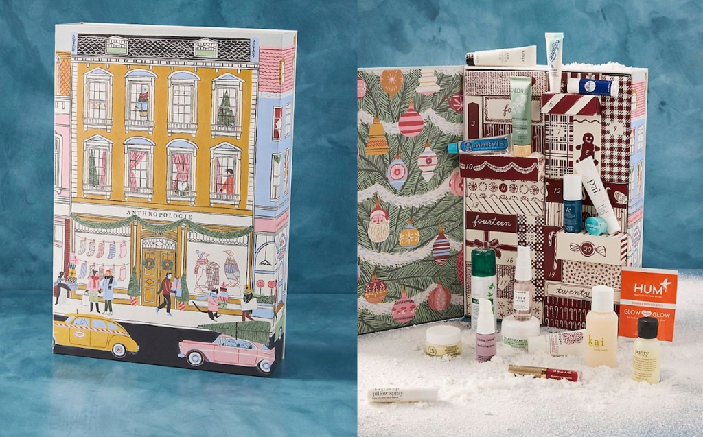 beauty advent calendar shaped like a house with sample products on fur table
