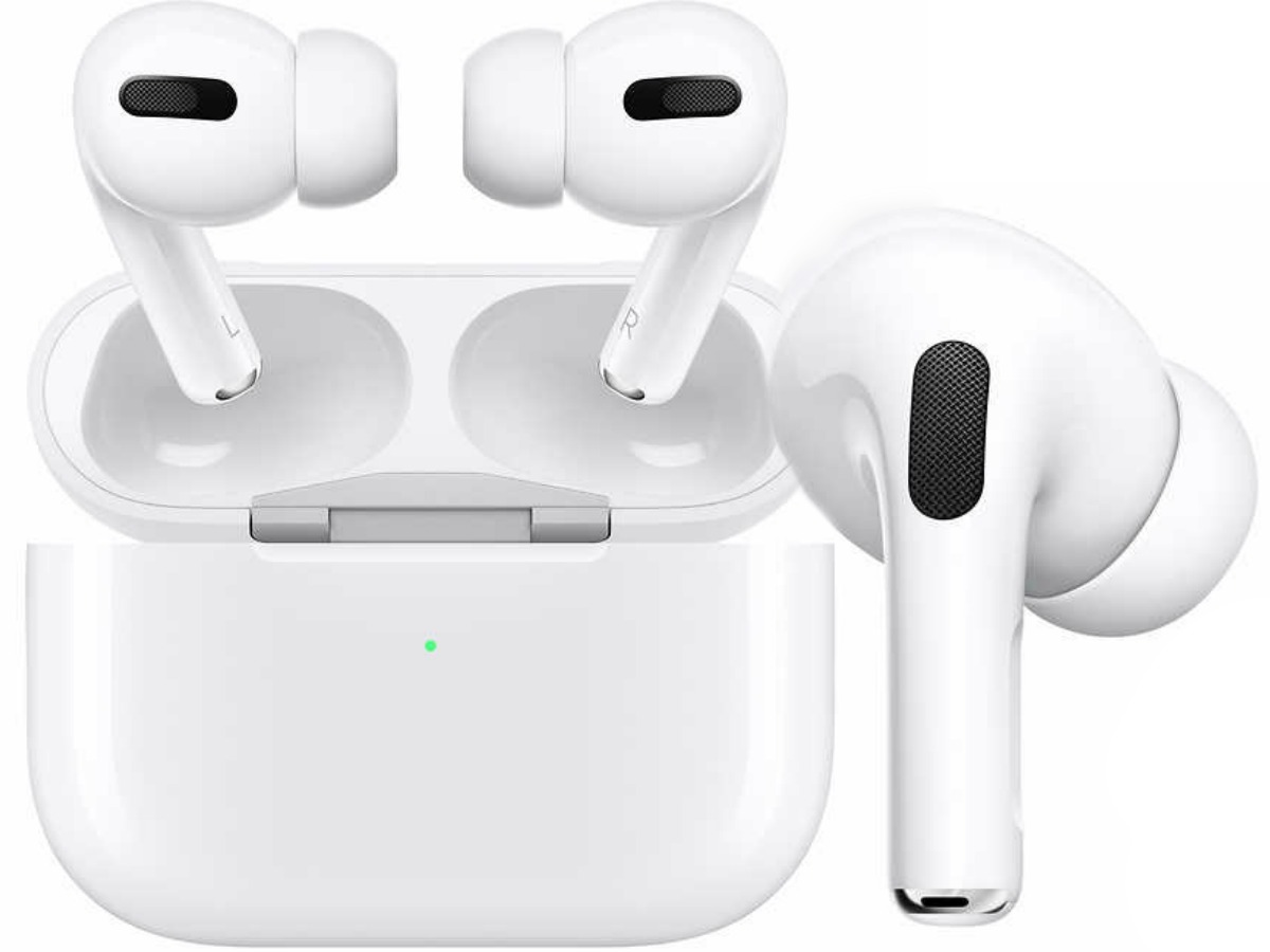 white pair of Apple AirPods in case