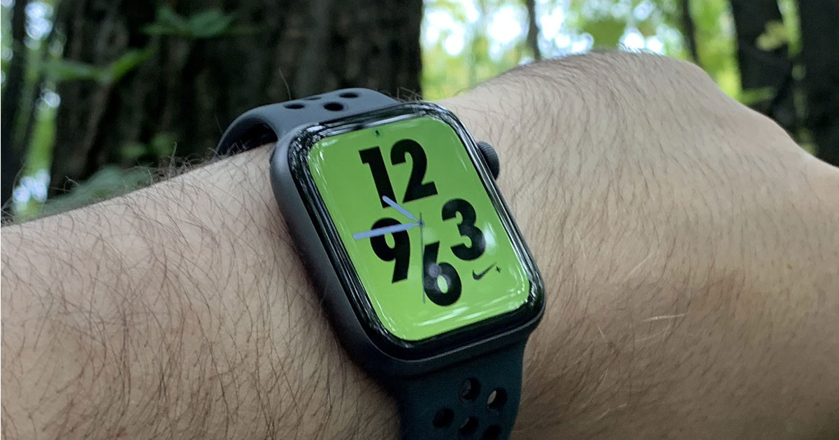 arm wearing a Apple watch with Nike+ 4