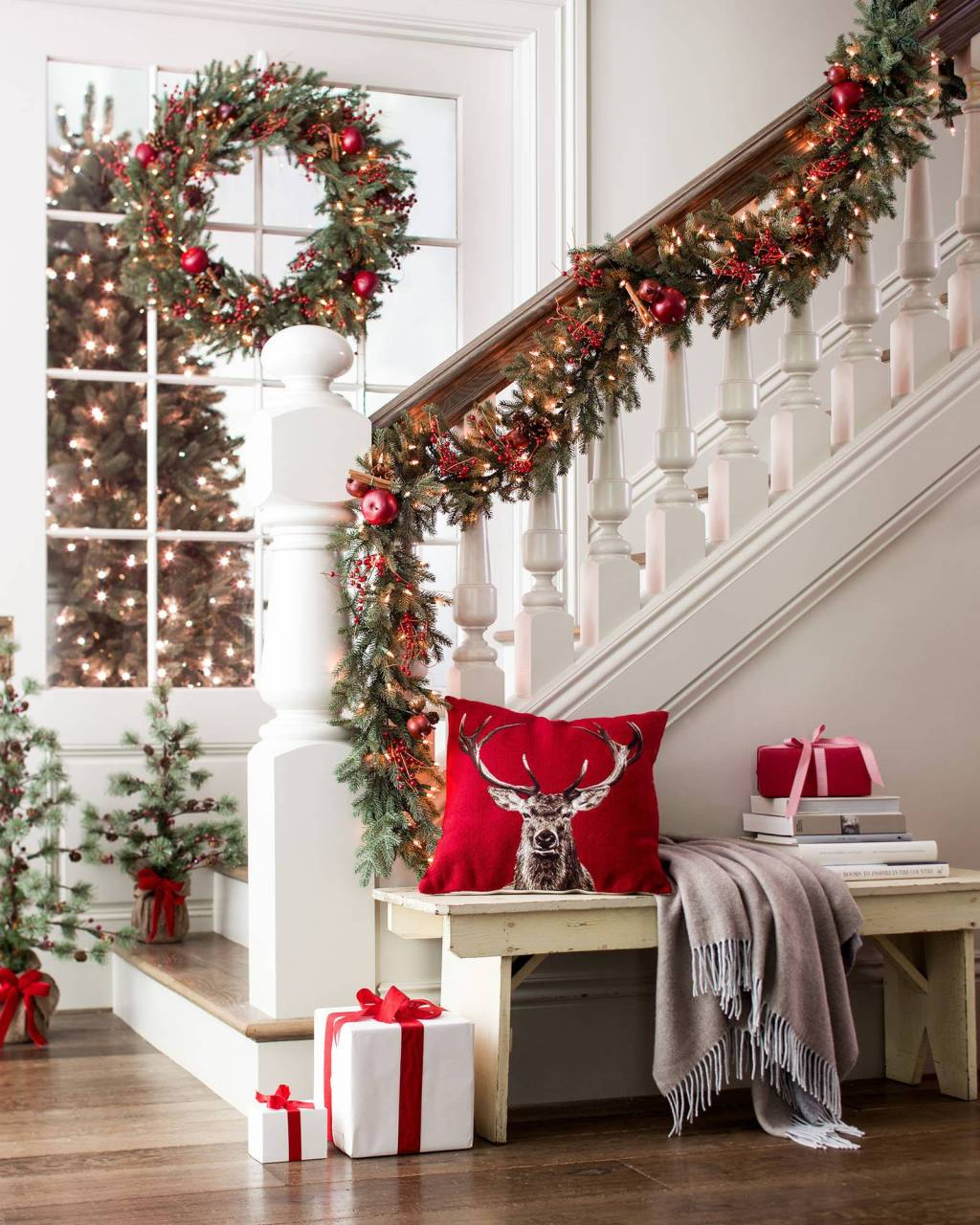 Christmas wreath and garland on stairs