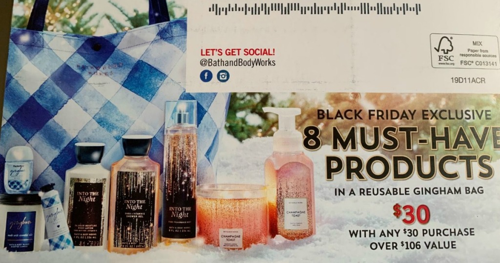 post card advertising Bath & Body Works Black Friday tote