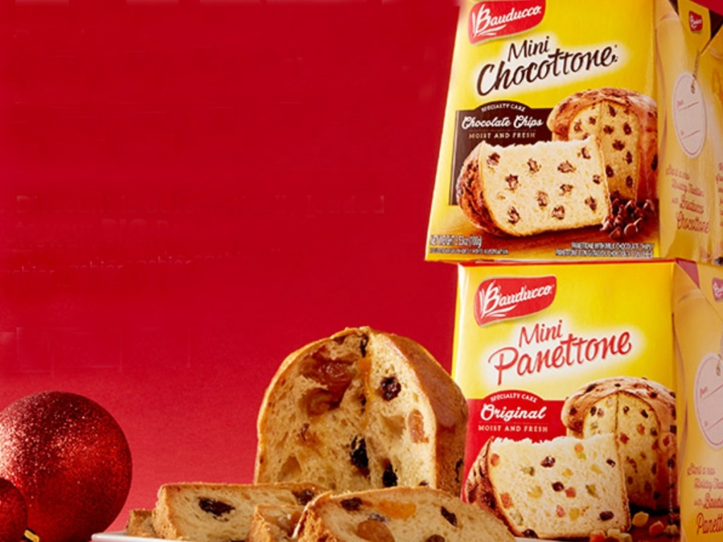 boxes of pastries on red background