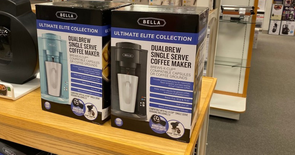 bella dual brew single serve coffee maker on shelf