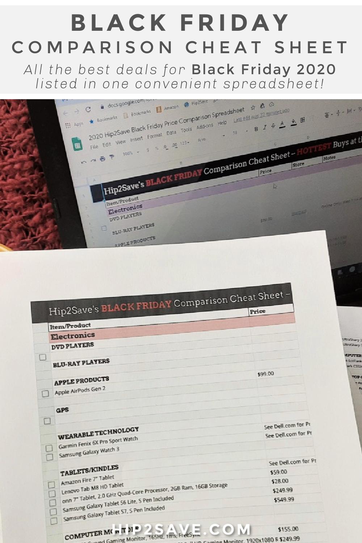 2020 Black Friday Price Comparison Cheat Sheet Hip2save
