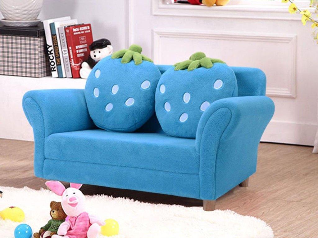 Kids Armrest Sofa Chair Lounge Furniture Set w/ 2 Strawberry Cushion Pillows