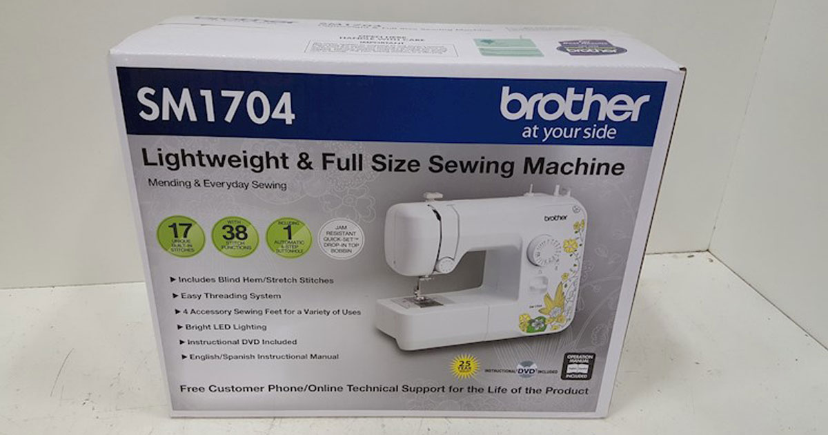 Brother SM1704 Lightweight Full Size Sewing Machine on a table