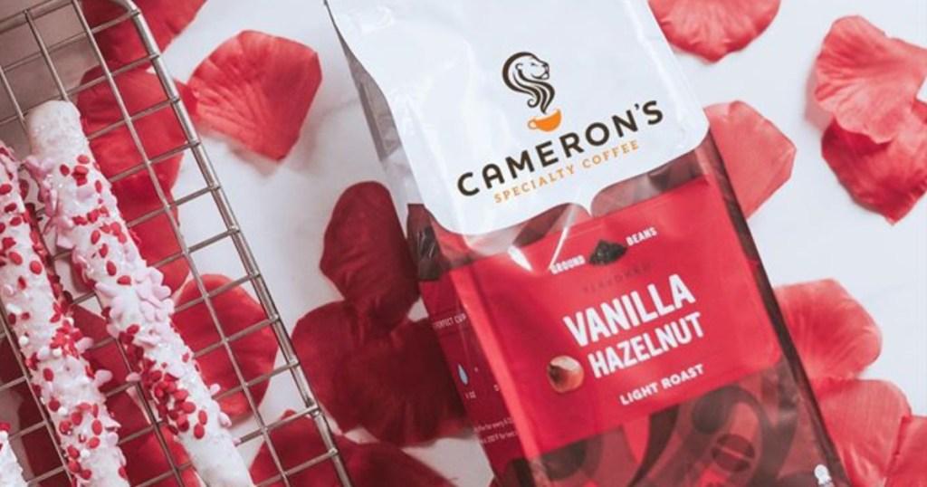 cameron's vanilla hazelnut surrounded by flower petals