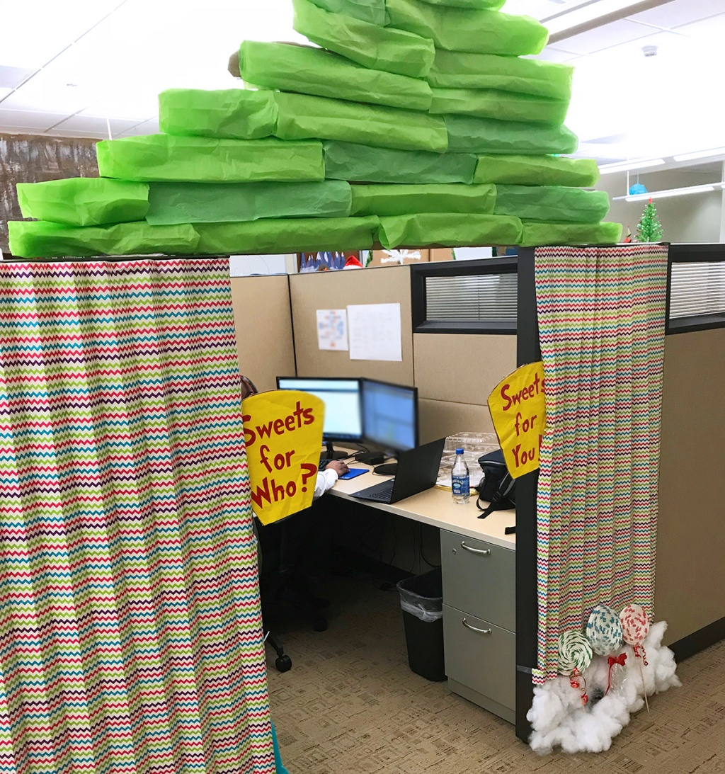 Office decorated as Whoville