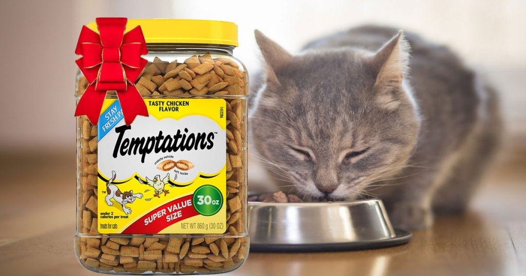 cat eating out of bowl Temptations Classic Crunchy and Soft Cat Treats with a red bow